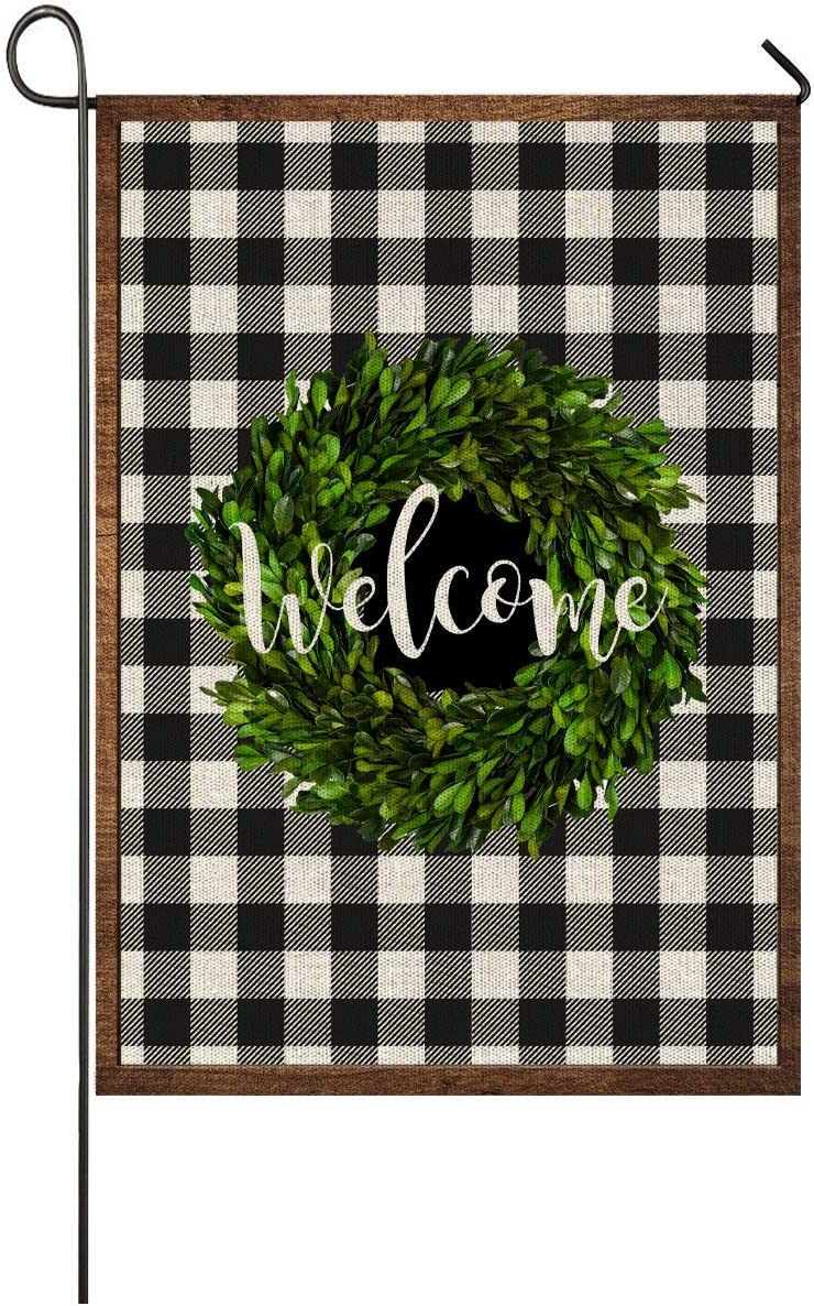 Faromily Welcome Boxwood Wreath Fall Small Buffalo Garden Flag Vertical Double Sided 12.5 x 18 Inch Farmhouse Autumn Yard Outdoor Decor