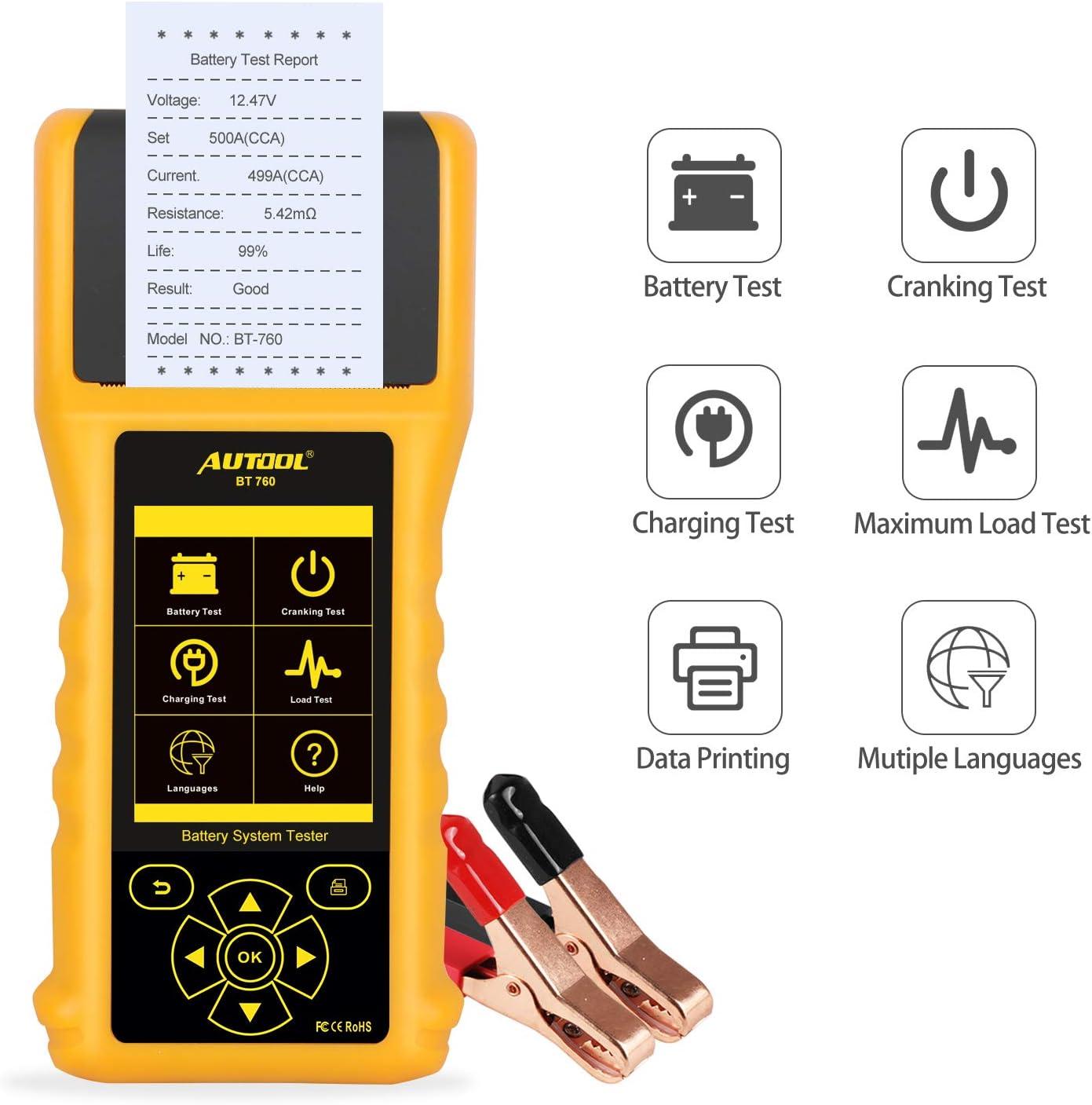 Probador de Carga de Batería 12V/24V 20-3000 CCA Sistema de Arranque Y Carga Analizador de Batería Herramienta de Escaneo Con Impresora Para Camiones de Servicio Pesado,Automóviles,Motocicletas Y Más