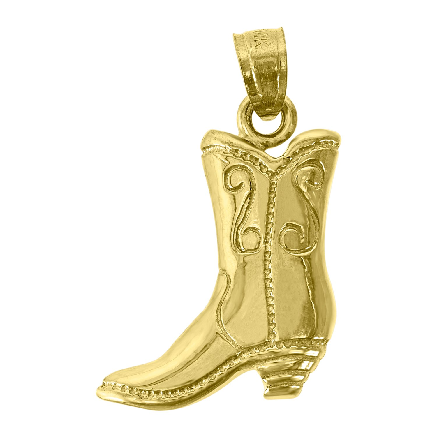 14kt Gold Womens Cow-boy Boot Fashion Pendant Charm
