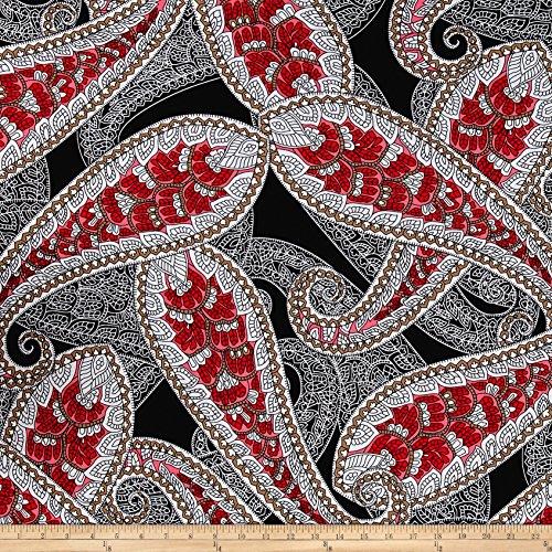 Black White Paisley Fabric - 6