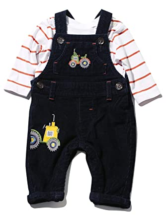 Baby Boys Dungaree and Long Sleeve Striped Top Outfit Two Piece Set