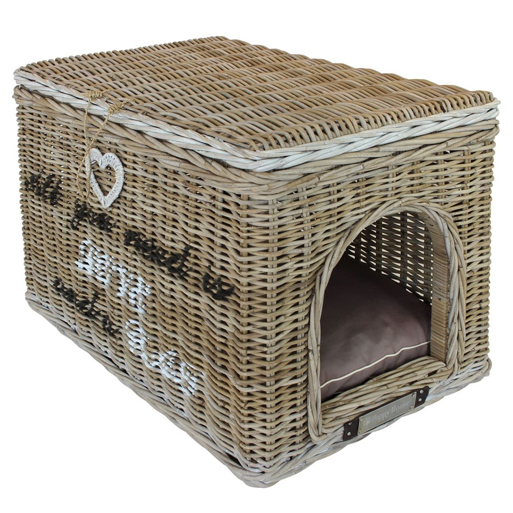 happy-house Rattan Luxus Pet House mit Annex Katzentoilette Bezug