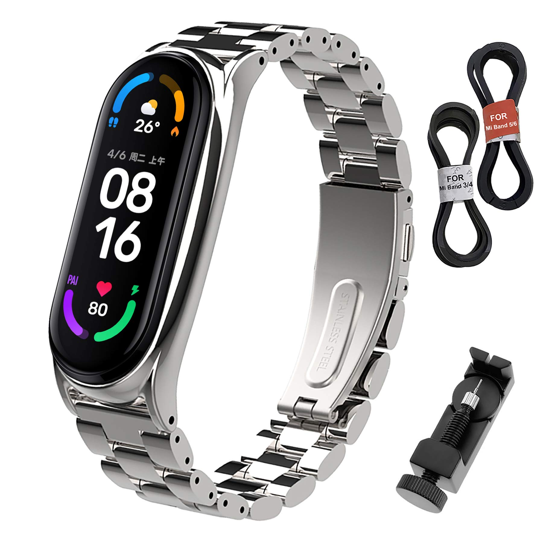 BDIG Mi Band 6 Straps Bracelet Replacement, MiBand 5 Stainless Steel Metal Wrist Strap Wristband WatchBand Accessories for Xiaomi Mi Band 4 Miband 3