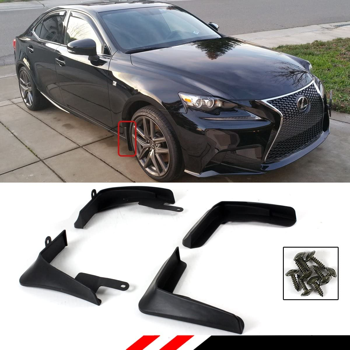 Set of 4 Front and Rear Mud Flaps Splash Guards for Lexus IS250 IS350 IS300