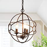 ISURAUL Industrial Chandeliers for Kitchen Island Orb Pendant Lighting, 11.8 Inches, Vintage Hanging Fixture for Foyer with B