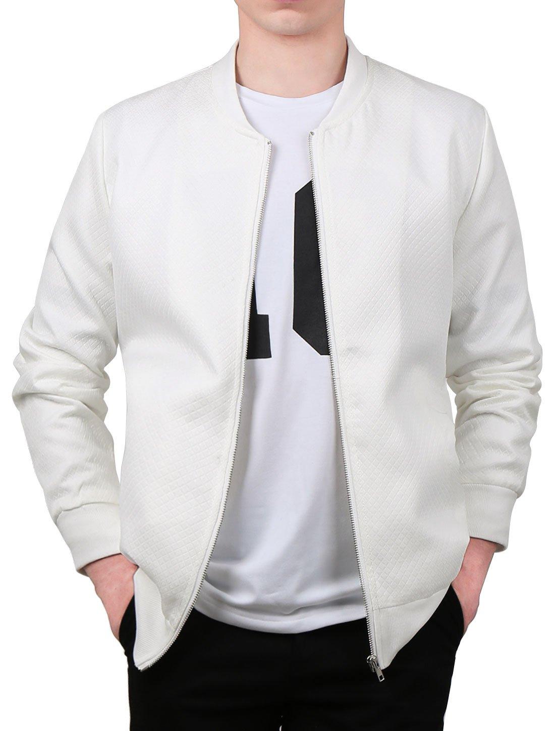 Allegra K Men Long Sleeve Stand Collar Zipper Slant Pockets Slim Fit Jacket S White by uxcell