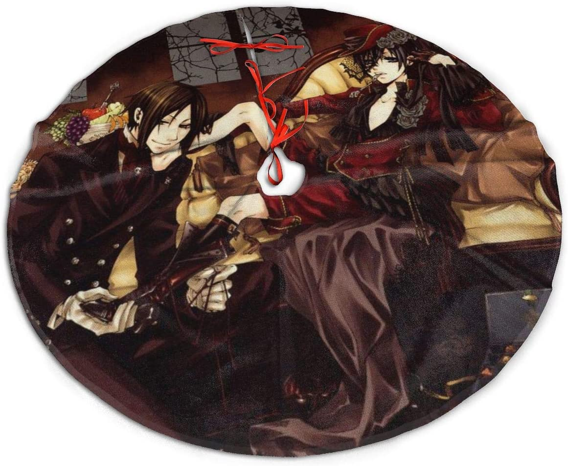 GDSSBD Anime Black Butler Christmas Tree Skirt - Halloween Christmas Tree Decorations Large Thick Luxury Tree Mat Decor Skirt, Holiday Party Supplies Decorations Xmas Ornaments 48