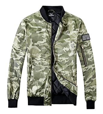 2f91912c3cec9 MADHERO Men Bomber Jacket Casual Padded Flight Jacket with Patch Camo Green  Size S