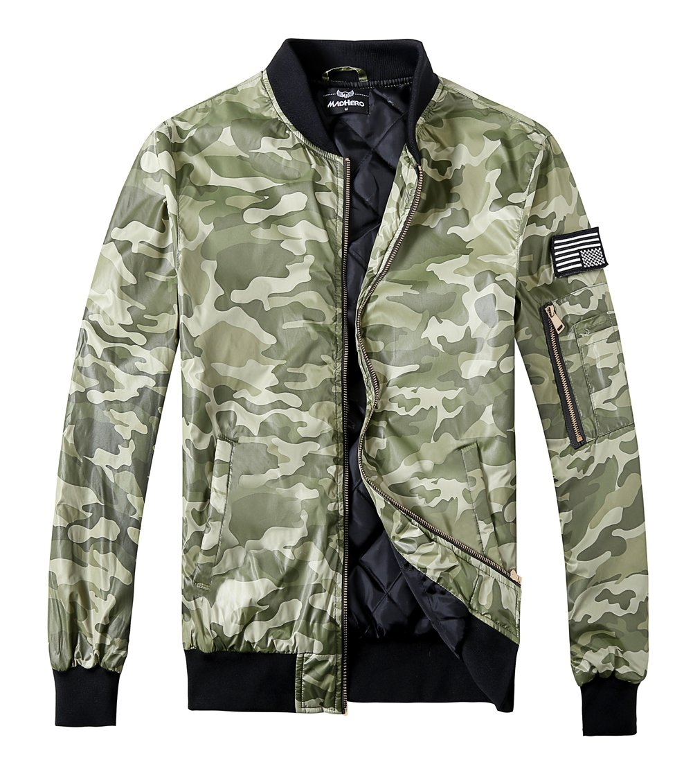 MADHERO Men's Padded Flight Jacket Lightweight Slim Fit Quilted Coat Patches Color Camo Green Size L