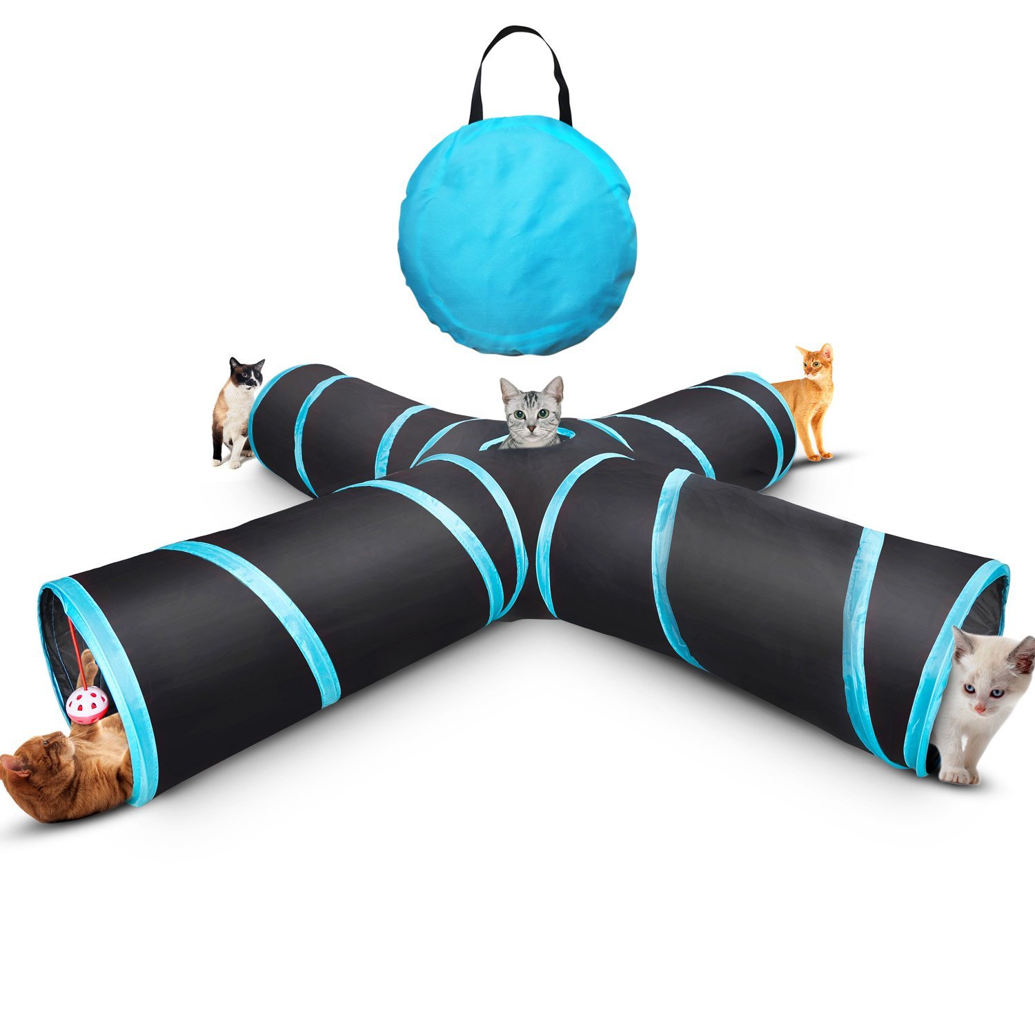 Myguru Cat Tunnel, Upgraded Collapsible 4 Way Crinkle Cat Toy Tube with Storage Bag & Catnip Toys for Large Cats,Dogs,Rabbits,Indoor/Outdoor Use (Large Size)