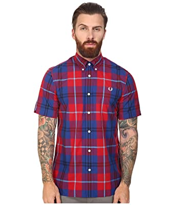 Fred Perry - Camisa de Cuadros para Hombre - Rojo - Medium: Amazon ...