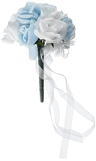 Amazon.com: Light Blue and White Silk Rose Toss Bouquet - Bridal ...