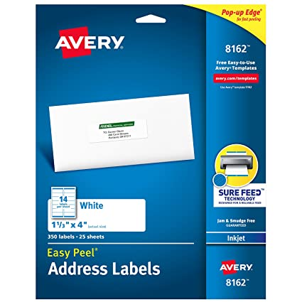Amazon avery address labels with sure feed for inkjet printers avery address labels with sure feed for inkjet printers 1 13quot maxwellsz