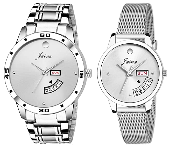 Jainx Silver Day and Date Analog Watch for Men, Women & Couple - JC452