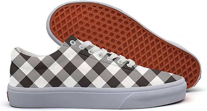 Charmarm Black White Checkerboard Mens Breathable Low Top Canvas Slip-on Shoes