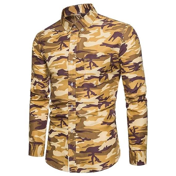 Camisa para Hombre JiaMeng Blusa Casual de Manga Larga Top Camuflaje Estampado Jersey Manga Larga Camiseta