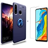 Bleosan Case for Huawei P30 Lite, with Tempered Glass Screen Protector, Ultra Thin Rotating Ring Holder Kickstand Shockproof Anti-Scratch Protective Case