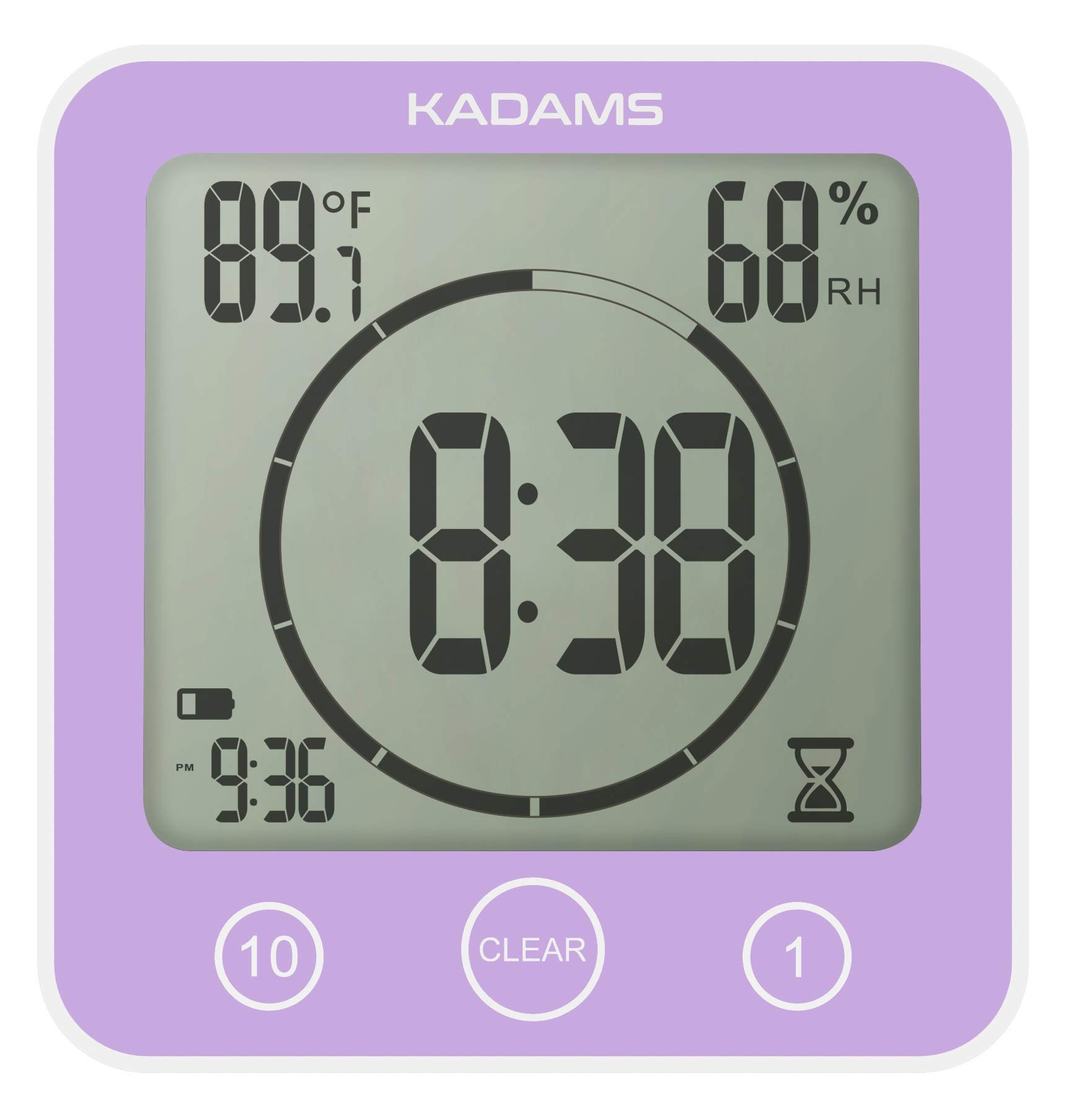 KADAMS Time Timer Countdown Clock, Visual Timer with Alarm, Digital Waterproof Wall Clock with Temperature Humidity, Time Management Tool for Classroom Teachers Bathroom Shower Kitchen for Kids Adults by KADAMS
