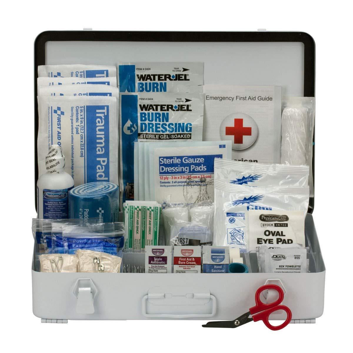 50 Person Bulk First Aid Metal Kit, ANSI B Type III Metal Case - OSHA Compliant 2018 Trauma Kit First Aid Kit for Businesses Emergency Kit