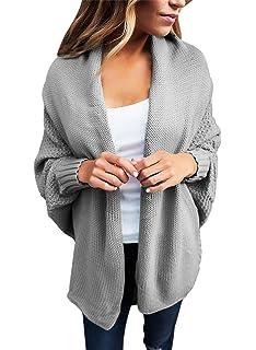 Sidefeel Women Cozy Knit Dolman Sleeves Sweater Draped Open Cardigan Tops 9d48bfed4