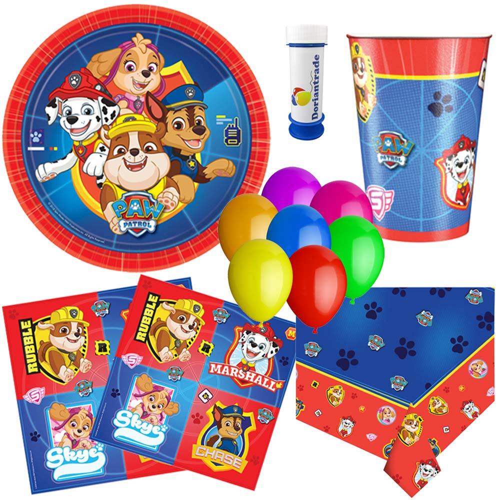 Amscan, doriantrade Juego de Fiesta (58 Piezas), diseño de Patrulla Canina, Color Rojo y Azul para 8 niños para cumpleaños Infantil Platos Vasos ...