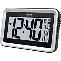 Accuon Large Atomic Radio-Controlled Self-Setting Digital Wall Clock with Indoor Temperature Display and Table Stand…