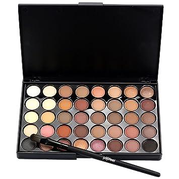 Colorful Eyeshadow Palette Matte 40 Colors Eyeshadow Powder Makeup Waterproof Eye Shadows Palette Cosmetics + Makeup Brush Set (A) : Beauty