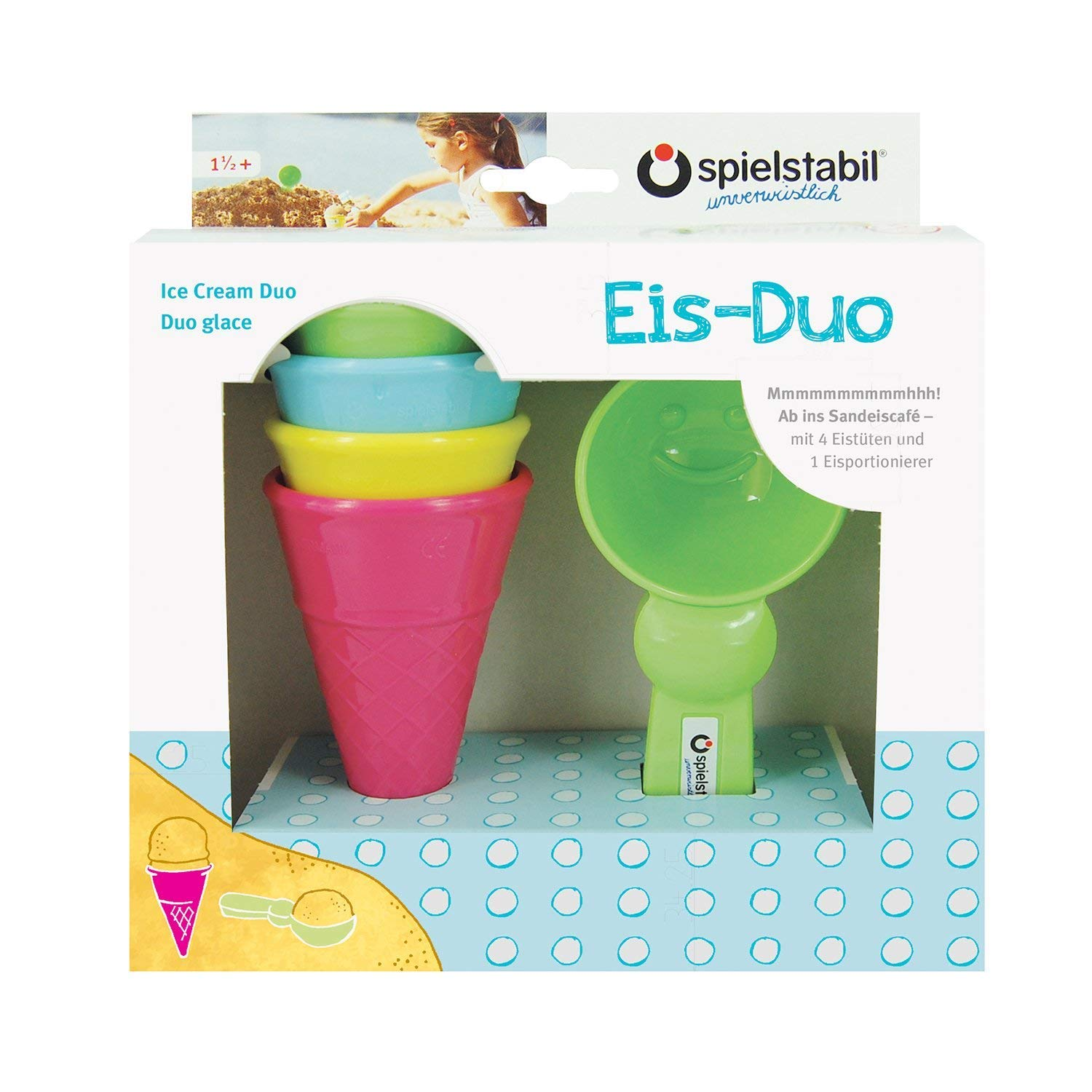 Spielstabil Ice Cream Duo Play Set with 4 Plastic Cones and 1 Scoop Mold for Use in The Sand or with Real Food (Made in Germany) by O SPIELSTABIL