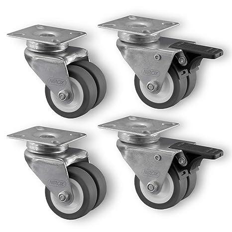 12 x 50 mm Lenkrollen Transportrollen Doppelrolle 100kg