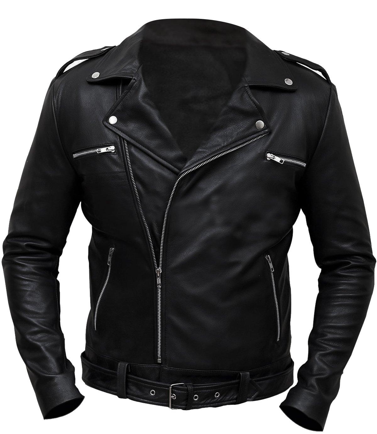 CHICAGO-FASHIONS Negan Jacket Walking Dead S7 Jeffrey Dean Morgan Black Biker Leather Jacket