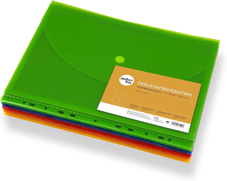 buste chiare /& trasparenti busta porta documenti con lembo di chiusura chiusura in velcro /& bordo per l/'archiviazione perfect line 10 tasche porta documenti DIN-A4 livello di riempimento 20 mm