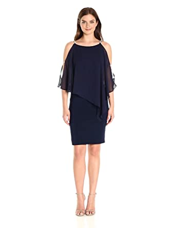 26cb41e8 Xscape Women's Short Dress with Chiffon Overlay with Bead Trim, Lovely  Navy, ...