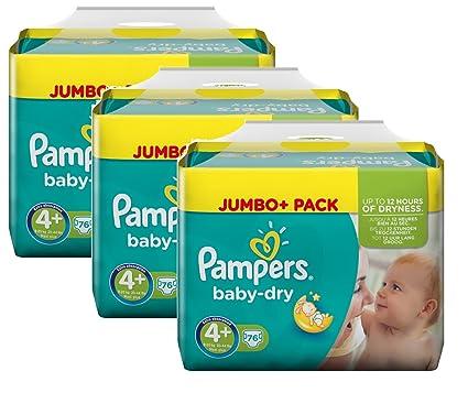 Pampers Tamaño del bebé en seco 4+ Maxi Plus 9-20kg Jumbo Plus Pack