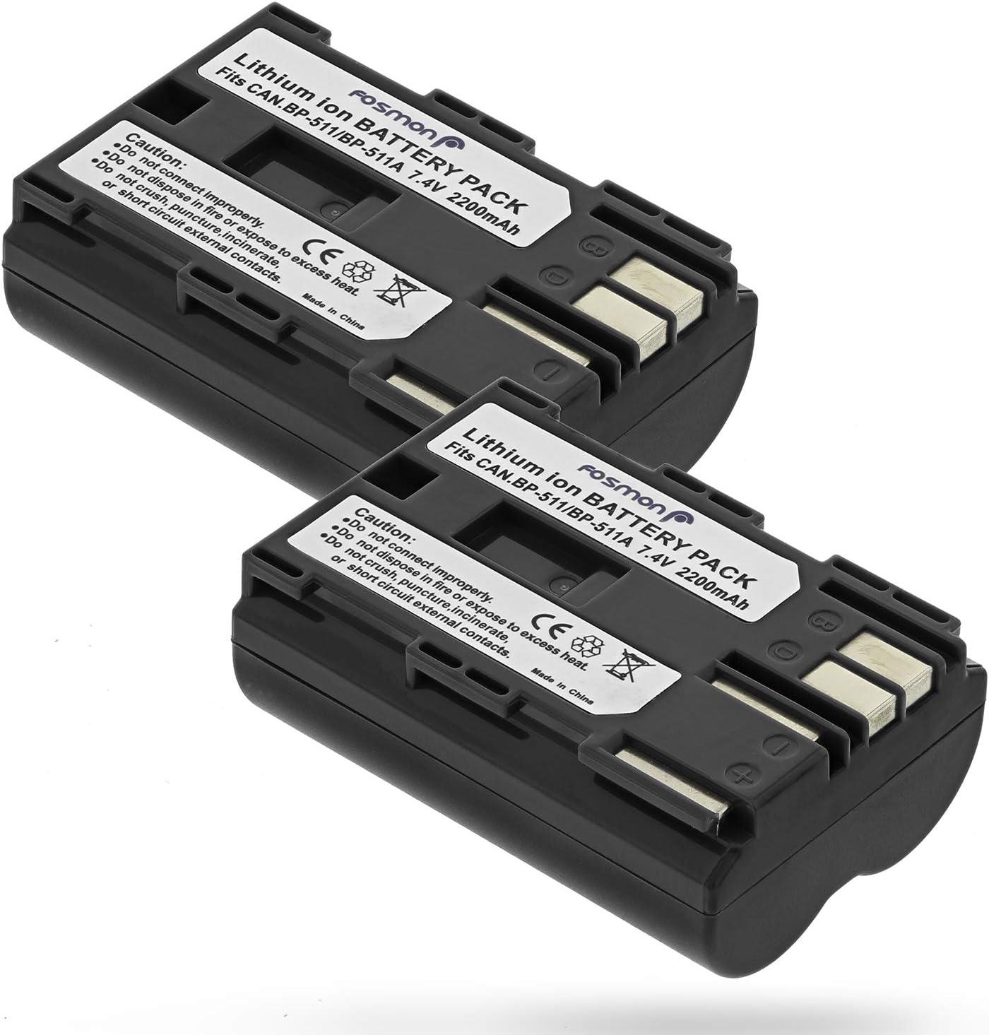 Fosmon Canon BP-511 / BP-512 Replacement Battery Pack Batería de repuesto para Canon EOS 10D, 20D, 20Da, 30D, 40D, 50D, 5D, D30, D60 / PowerShot G1, G2, G3, G5, G6 / EOS Digital Rebel / Optura Xi