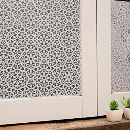Bloss privacy window film lace flower home office window decal shower door privacy film 17 7 inches