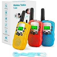 Fansteck 3-delige walkietalkies voor kinderen, draadloze set met zaklamp, 8 kanalen, 3 km bereik met touwen, speelgoed…