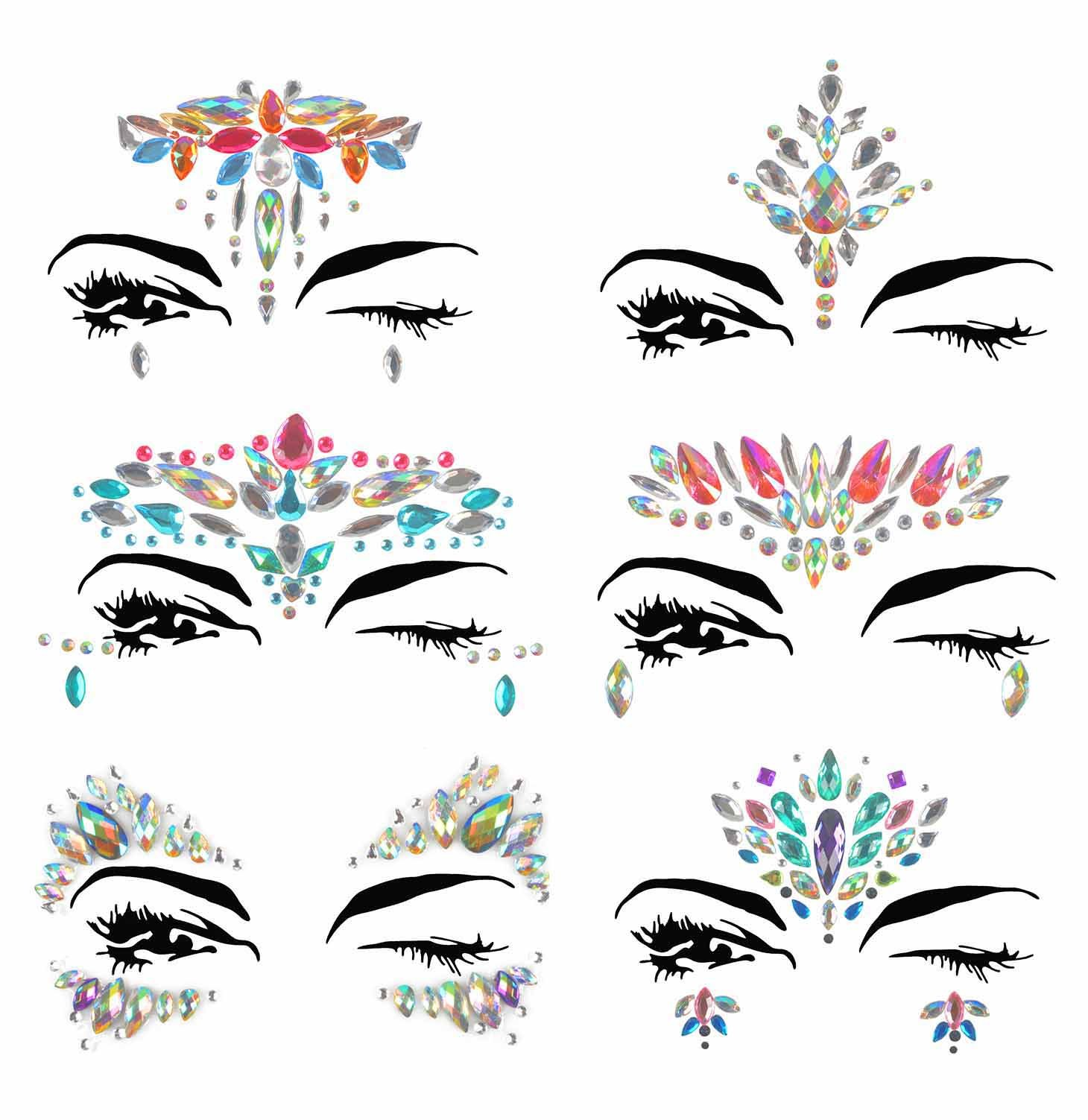 Face Jewels, Ynredee 6 Sets Women Mermaid Rave Festival Glitter Body Sticker, Rhinestone Temporary Tattoo Face Gems Crystals Eyebrow Face Body Jewelry