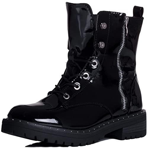 0d603831b Spylovebuy Dillie Women's Military Studded Lace Up Flat Ankle Boots ...