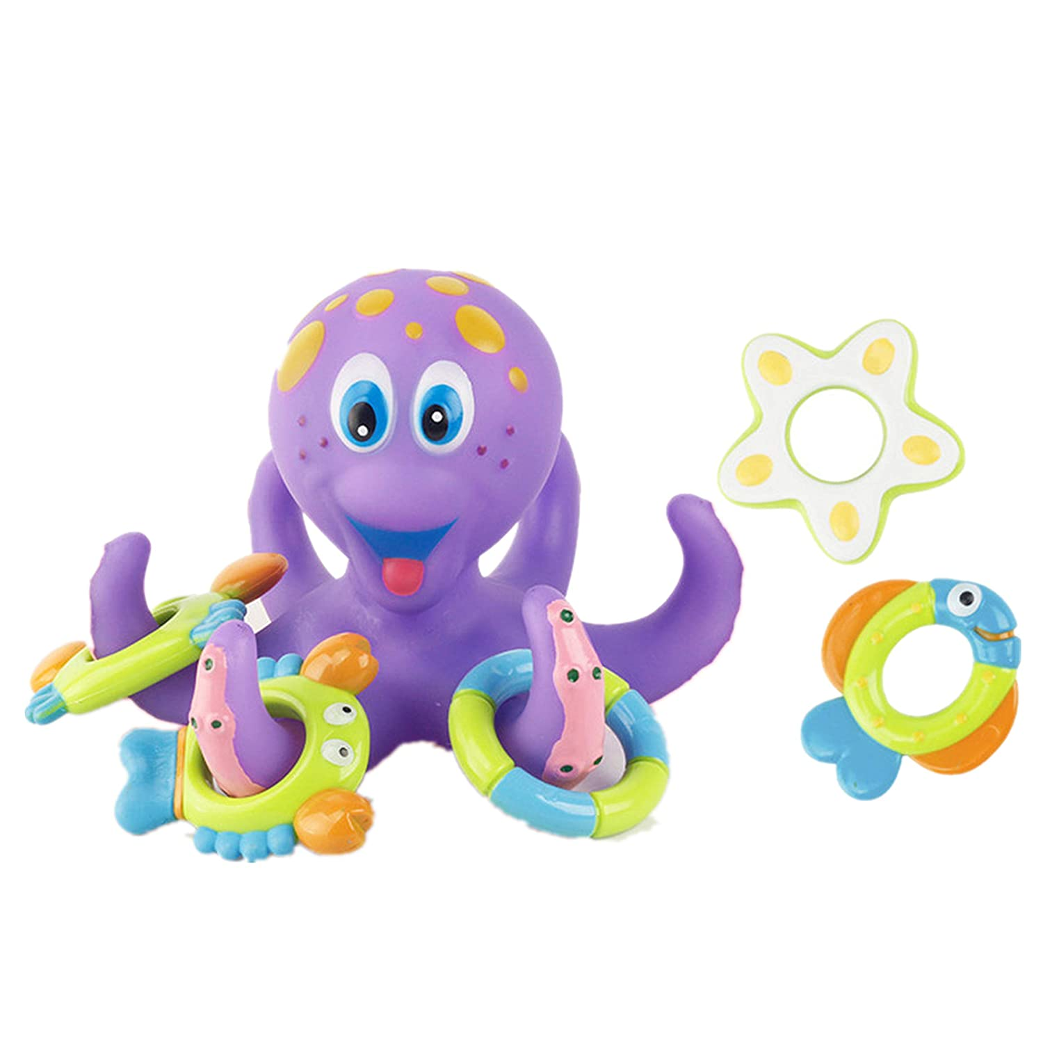 Amaping Cute Octopus Bathtime Fun Toys for Baby Bath Catching & Floating Bathtub Toy with 5 Rings Novelty around the Tentacles (Purple)