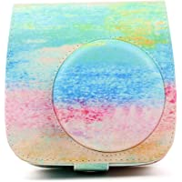 Funnideer Protective Case Compatible for Fujifilm Instax Mini 9 / Mini 8 / Mini 8+ Instant Camera Case Bag Vegan Leather Bag Cover with Removable Strap (Rainbow Mist)