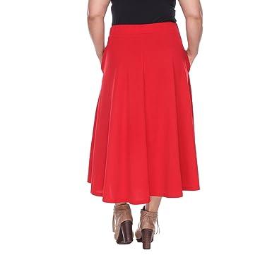 7ca7b10dd7 White Mark Women's ''Tasmin'' Flare Midi Skirt - Plus Size at Amazon Women's  Clothing store: