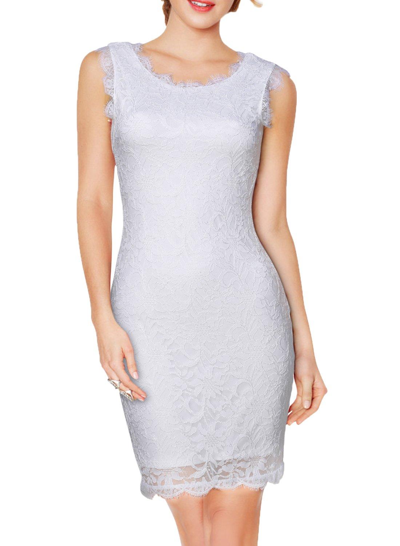 WOOSEA Elegant 3//4 Sleeve Full Flroal Lace Short Cocktail Dress