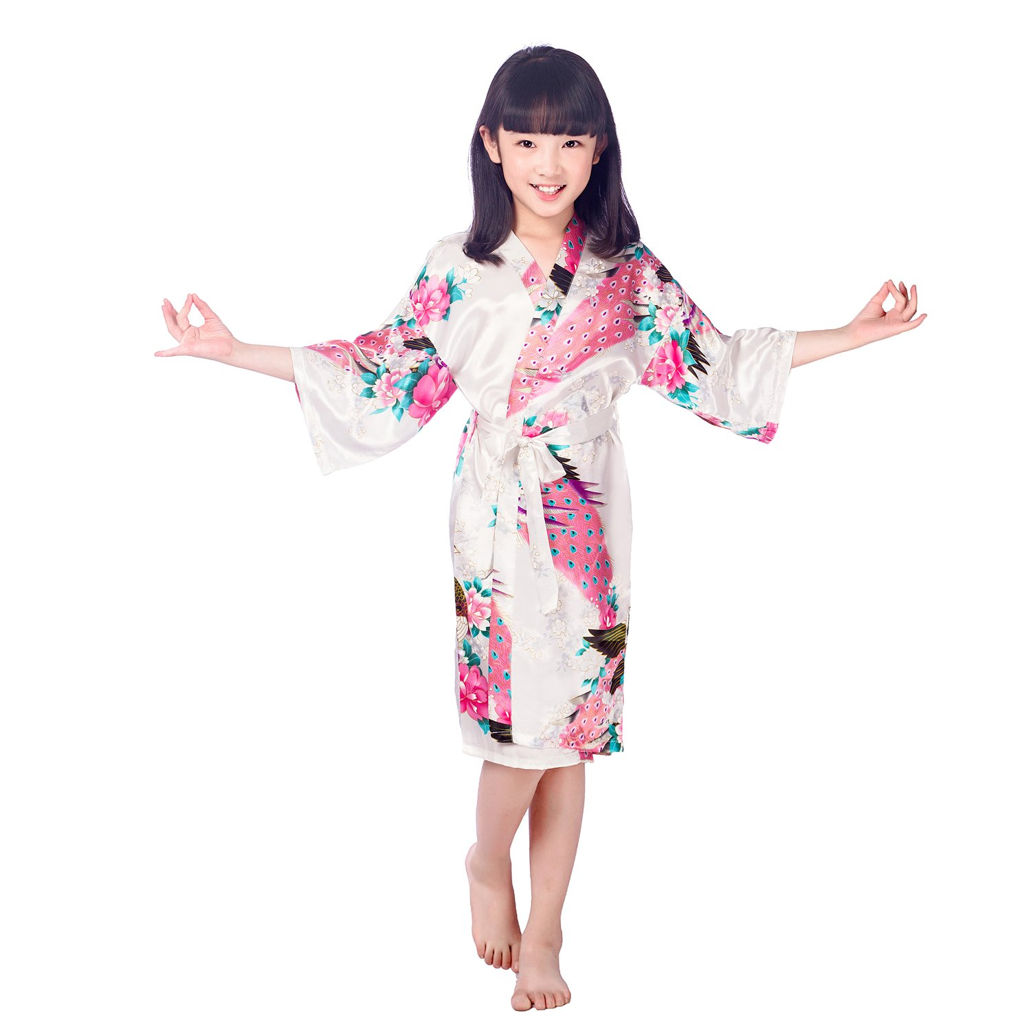 Kissababy Girl's Silk Kimono Robe Peacock Flower Bathrobe Sleepwear Nightgown for Spa Party Wedding Birthday