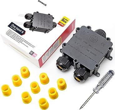 SAMHUE Junction Box IP68 Conectores de cable a prueba de agua de 3 vías Caja de conexiones eléctrica exterior/externa Ø 4mm-14mm: Amazon.es: Electrónica