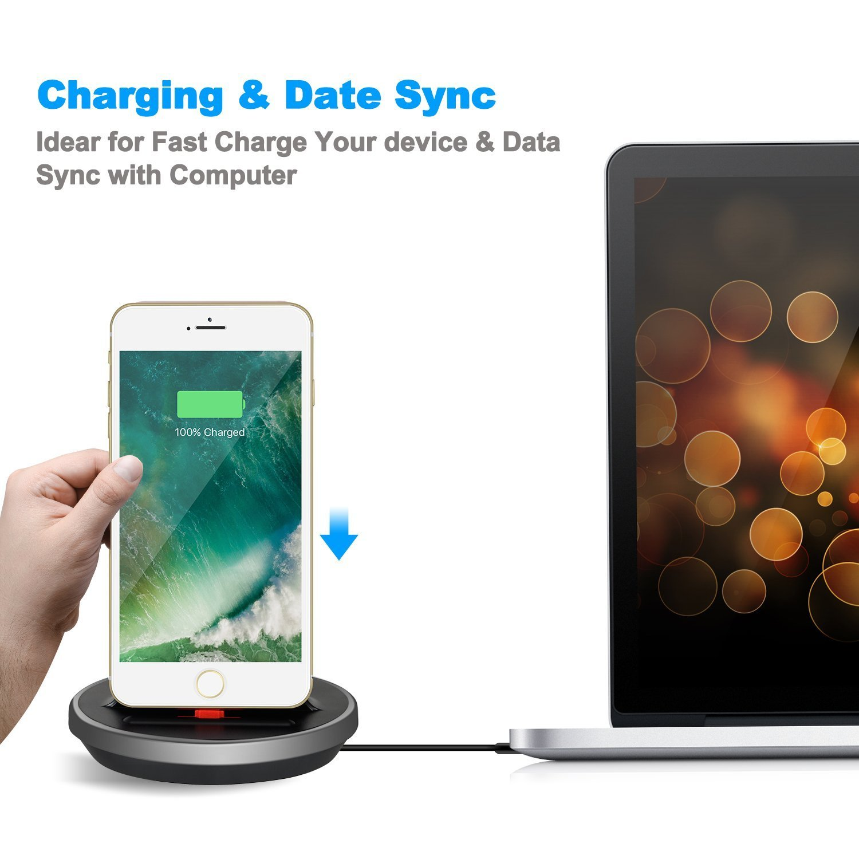 Cargador de escritorio caso Compatible soporte de carga parafor iPhone XS Max XR X 8 7 6S 6 Plus SE 5S 5C 5 // iPad Mini // iPad Air // iPad Pro // AirPods and iPod Series NXET Base Dock para iPhone, de carga y de sincroniza de datos cuna