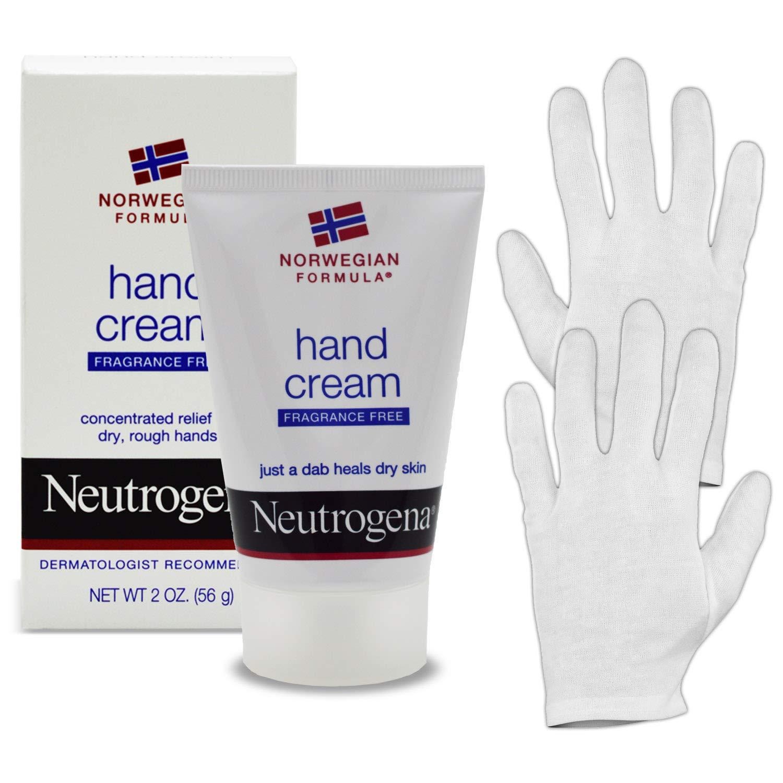 Neutrogena Norwegian Formula Hand Cream Kit: 2 Oz (200 Applications) Hand Lotion For Dry Cracked Hands & HeroFiber Large Overnight Moisturizing Thin White Cotton Sleeping Gloves.