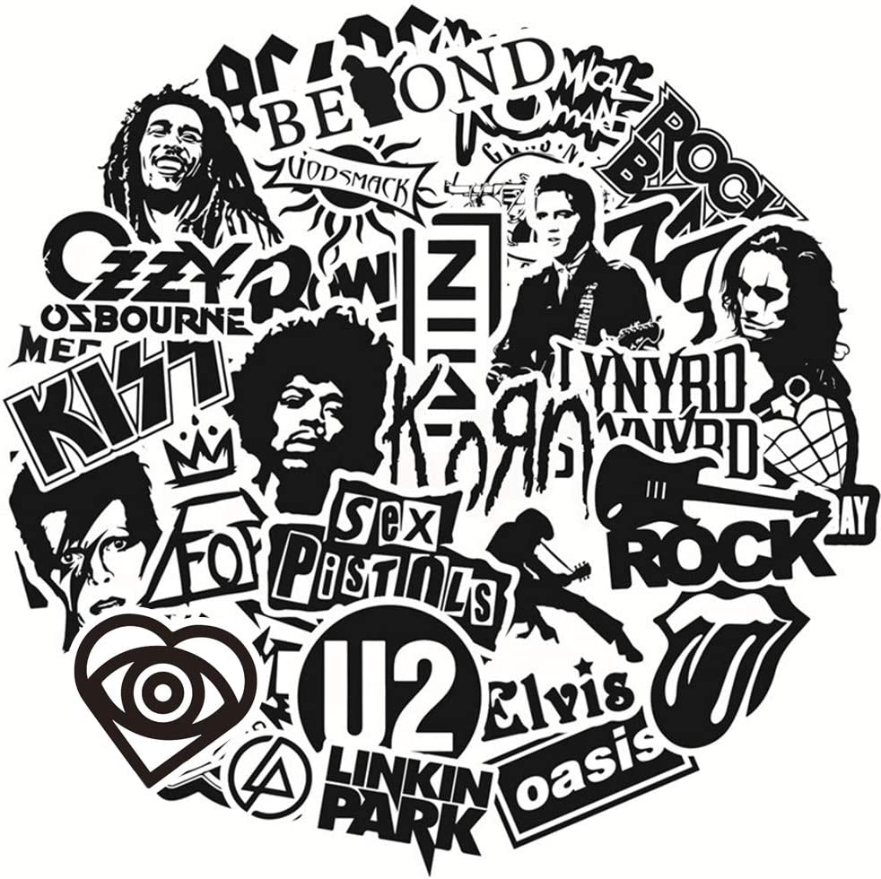50pcs Music Rock Band Stickers for Guitar Laptop Bass Piano Violin Drum Skateboard Travel Case Water Bottle Phone Cool Rock and Roll Decal for Teen&Adult
