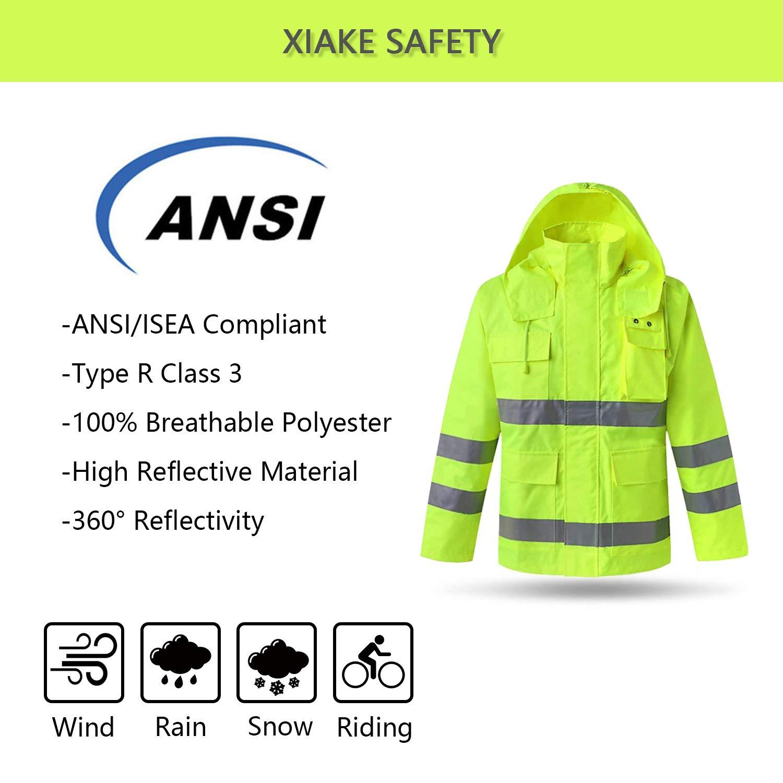 XIAKE SAFETY Class 3 Hi-Vis Reflective Rainwear Breathable Windproof Waterproof Antifouling, ANSI/ISEA Compliant,Yellow(XLarge) by XIAKE (Image #2)