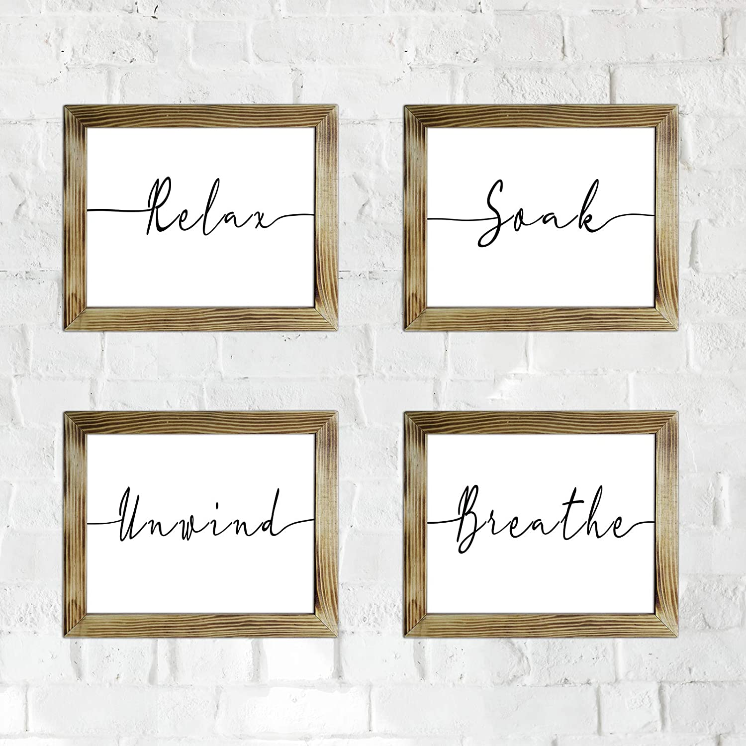 Relax/Soak/Unwind/Breathe Sign, Funny Bathroom Sign Rustic Frame Wall Decor Farmhouse Wall Sign with Solid Wood, 10x12 inch 4/Pack