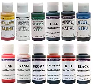 Set of LorAnn Extra Strength Liquid Food Coloring Decorating Baking kit - 12 Color Variety Kit in 1 fl. oz. (29.5ml) Easy-to-use squeeze Bottles.